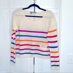 360 Cashmere Cream With Colored Stripes Sweater
